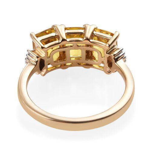ILIANA 18K Yellow Gold AAA Chanthaburi Yellow Sapphire (Oct), Diamond (SI/G-H) Ring 3.10 Ct.