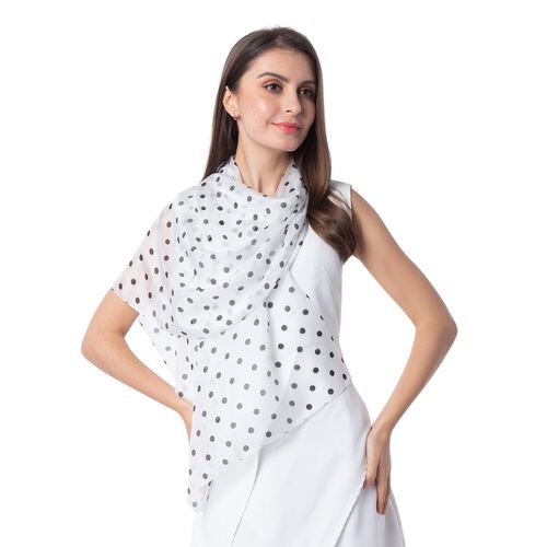 New Season-100% Mulberry Silk White, Black and Grey Colour Polka Dots Pattern Scarf (Size 175x53 Cm)