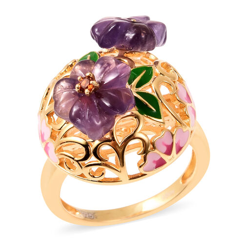 Jardin Collection - Amethyst, Mozambique Garnet Enamelled Floral Ring in Yellow Gold Overlay Sterlin