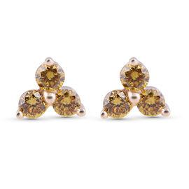 SGL Certified 9K Yellow Gold Diamond Earring  0.250  Ct. (Fancy Yellow / I3) with Push Back