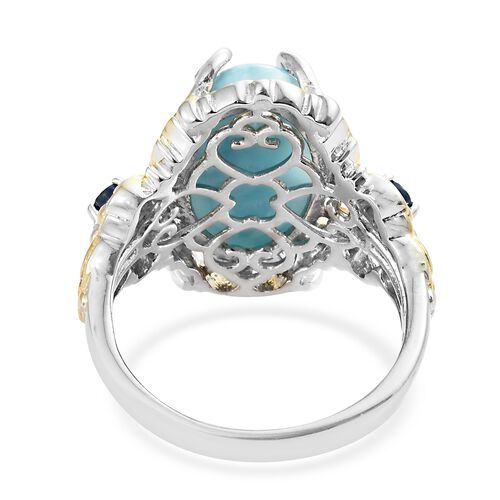 Larimar (Ovl 9.75 Ct), Kanchanaburi Blue Sapphire Ring in Platinum Overlay Sterling Silver 10.000 Ct. Silver wt 7.17 Gms.
