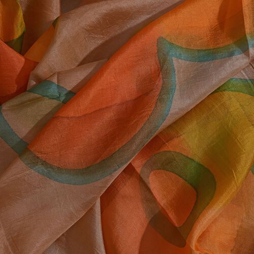 100% Mulberry Silk Brown, Green and Multi Colour Handscreen Floral Printed Scarf (Size 200X170 Cm)