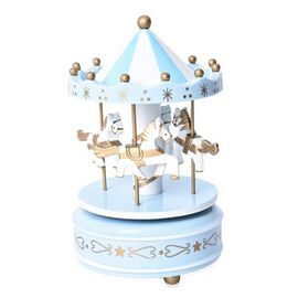 Stocking Filler- Handcrafted Merry-Go-Round Carousel with Wooden Horses Music Box (Size 11x18cm) - L