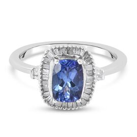 Premium Tanzanite and Diamond Ring in Platinum Overlay Sterling Silver 1.20 Ct.
