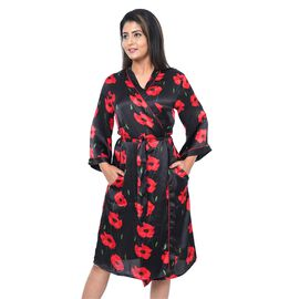 Poppy Floral Printed Satin Robe with Bell Sleeve - Black
