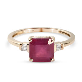 9K Yellow Gold AA African Ruby (FF) and Diamond Ring 2.68