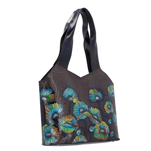 SUKRITI 100% Genuine Leather RFID Protected Flower Tote Bag (Size 23.5x29.5x10.5cm) - Navy Blue