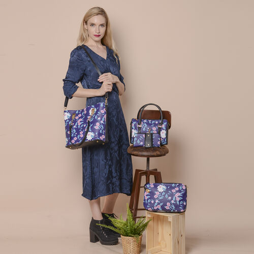 Set of 5 - Floral Pattern Tote Bag (29x12.5x30cm), Convertible Bag (27.5x13x19cm), Crossbody Bag (12.5x9x22cm), Wallet 19x2x10cm) & key Bag (6x10cm) - Black and Navy