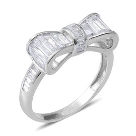 ELANZA Simulated Diamond (Bgt) Bow Knot Ring in Rhodium Overlay Sterling Silver