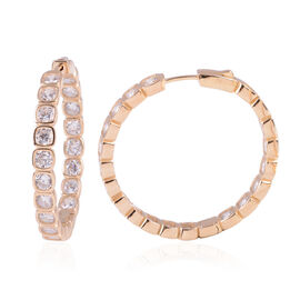 ELANZA Simulated Diamond Hoop Earrings in Gold Plated Sterling Silver 15 Grams
