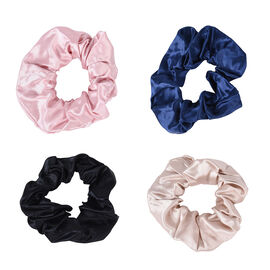 Set of 4 - 100% Mulberry Silk Scrunchies in Black, Pink, Navy and Champagne (Diameter 11Cm)