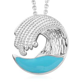 Platinum Overlay Sterling Silver Enamelled Sea Wave Pendant with Chain (Size 18), Silver wt 6.55 Gms