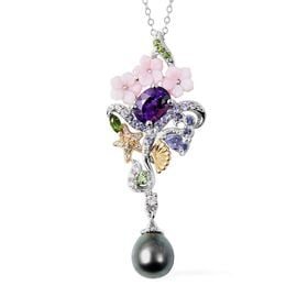 Jardin Collection - Baroque Tahitian Pearl, Pink Mother of Pearl and Multi Gemstone Pendant with Cha