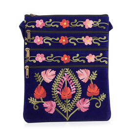 Multi Colour Flowers and Leaves Embroidered Navy Blue Colour Suede Bag (Size 26x21 Cm)