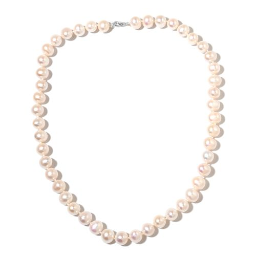 AAA Double Luster Fresh Water White Pearl Ball Necklace in 9K White Gold 20 Inch