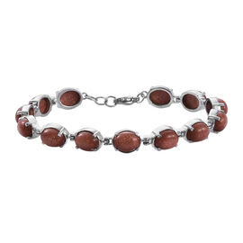 One Time Deal- Gold Sandstone (Ovl) Bracelet (Size 7.5) in Stainless Steel  27.000  Ct.