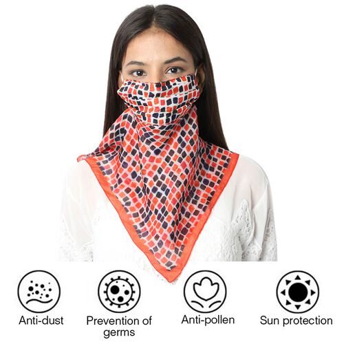 New Arrival- 2 in 1 Block Pattern 100% Mulberry Silk Scarf and Protective Face Covering in Multicolo