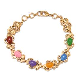 One Time Deal-Multi Colour Jade Bracelet (Size 7.5) in 18K Yellow Gold Plated  10.000 Ct.