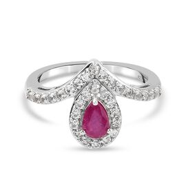 African Ruby, Zircon Fancy Ring in Platinum Overlay Sterling Silver 0.83 ct  0.825  Ct.