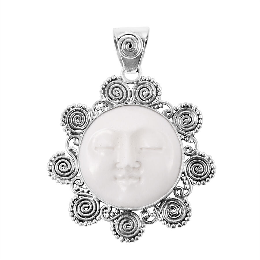 Man In The Moon Ox Bone Carved Face Rnd Pendant In Sterling Silver 18 000 Ct 3091135 Tjc