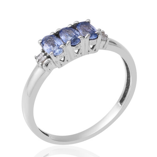 Royal Ceylon Sapphire and Diamond Ring in Rhodium Overlay Sterling Silver 0.90 Ct.