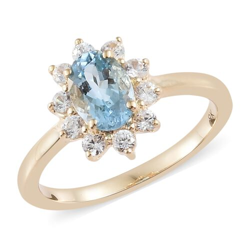 9K Yellow Gold AA Santa Maria Aquamarine (Ovl), Natural White Cambodian Zircon Ring 1.200 Ct
