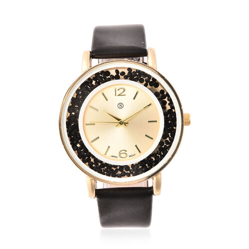 6 Piece Set - STRADA Japanese Movement Moving Black Austrian Crystal Water Resistant Watch with Black Strap and Set of 5 Adjustable Bracelet (Size 6.5-7.5) in Gold Tone