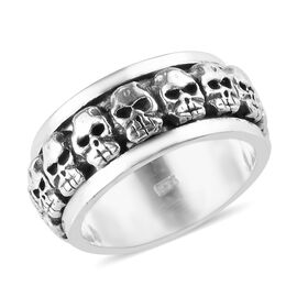 Sterling Silver Skull Band Ring, Silver wt 7.11 Gms