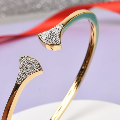 Diamond Cuff Bangle (Size 7.5) in 18K Yellow Gold Plated