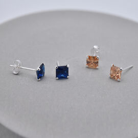 Set of 2 -  Simulated Champagne Diamond and Simulated Sapphire Stud Earrings (with Push Back) in Silver