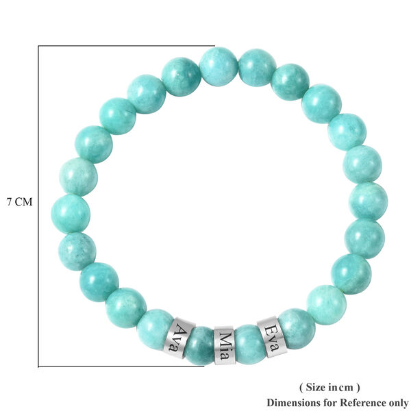 """Personalised Engravable Amazonite Beads Stretchable Bracelet, Stainless Steel, Size 6.5"""""""