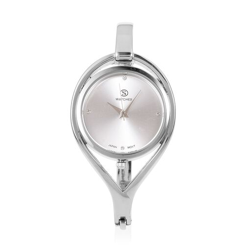 Designer Inspired Silver Plated Crystal Bangle Watch