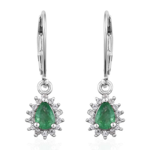 1 Carat Zambian Emerald and Cambodian Zircon Drop Halo Earrings in Sterling Silver With Lever Back