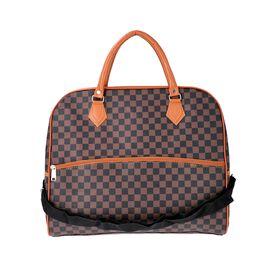 Designer Inspired- Check Pattern Handbag (Size 43x15x37cm)- Brown and Black