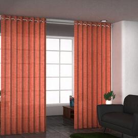 Set of 2 - 100%Cotton Textured Slub Curtain with Eyelets (Size 140x234cm) - Rust