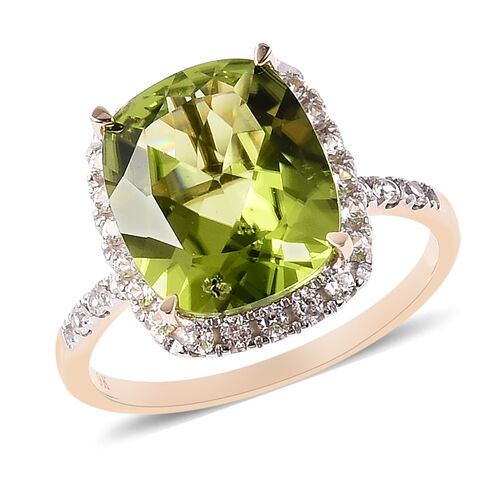 5.86 Ct Extremely Rare AAA Hebei Peridot with Zircon Halo Ring in in 9K Gold