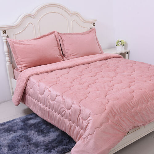Serenity Night - 4 Piece Sherpa Comforter Set - Dusky Pink Comforter (220x225cm), Fitted Sheet (140x