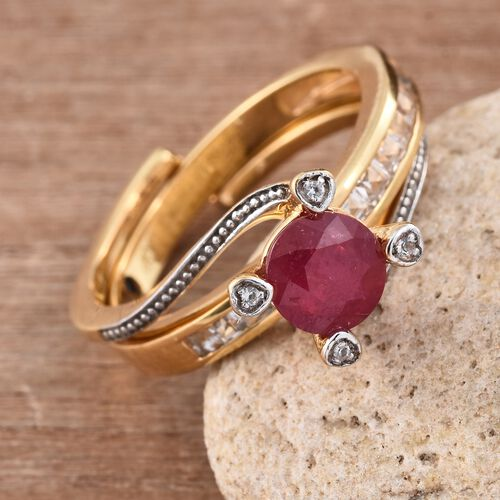 GP African Ruby (Rnd 1.62 Ct), White Topaz and Kanchanaburi Blue Sapphire 2 Ring Set in 14K Gold Overlay Sterling Silver 2.500 Ct. Silver wt 5.97 Gms.