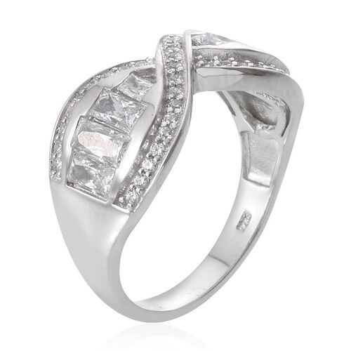 J Francis - Platinum Overlay Sterling Silver (Bgt) Ring Made with SWAROVSKI ZIRCONIA, Silver wt 5.59 Gms.