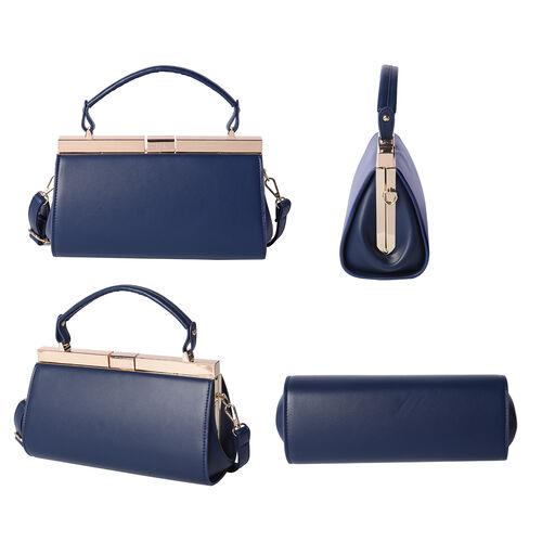 BOUTIQUE COLLECTION Indigo Blue Clutch Bag with Detachable Shoulder Strap and Top Handle (Size 26x13x16 Cm)