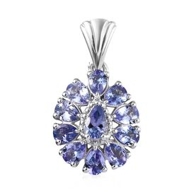 Tanzanite (Pear) Pendant in Platinum Overlay Sterling Silver 1.50 Ct.