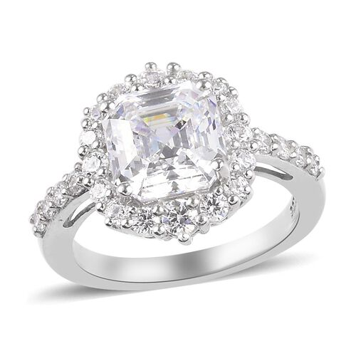 J Francis Platinum Overlay Sterling Silver Ring Made with SWAROVSKI ZIRCONIA 5.87 Ct.