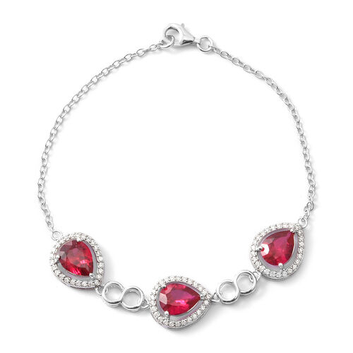 ELANZA Simulated Ruby (Rnd), Simulated Diamond Bracelet (Size 7.5) in Rhodium Overlay Sterling Silver