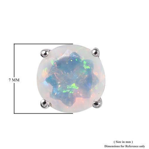 RHAPSODY 950 Platinum AAAA Ethiopian Welo Opal (Rnd) Earrings (with Screw Back) 1.500 Ct.