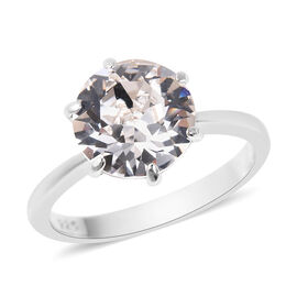 J Francis White Crystal from Swarovski Solitaire Ring in Rhodium Plated Sterling Silver