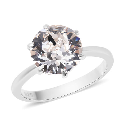 J Francis Crystal from Swarovski Solitaire Ring in Rhodium Plated Sterling Silver