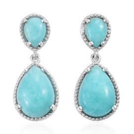 12.25 Ct Peruvain Amazonite Drop Earrings in Platinum Plated Sterling Silver 5.24 Grams
