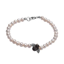 Black Diamond (Rnd), Freshwater Pearl Bumble Bee Bracelet (Size 7.5) in Platinum, Gold and Black Ove