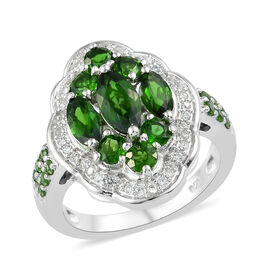 Russian Diopside (Mrq), Natural Cambodian Zircon Ring in Platinum Overlay Sterling Silver 3.000 Ct.