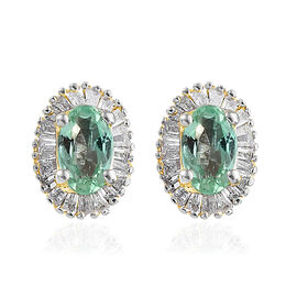 9K Yellow Gold Boyaca Colombian Emerald (Ovl) Diamond Earrings 0.750 Ct.